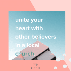 """Binmin graphic of church roof on why did Jesus have to die. Shows phrase: """"Unite your heart with other believers in a local church"""""""