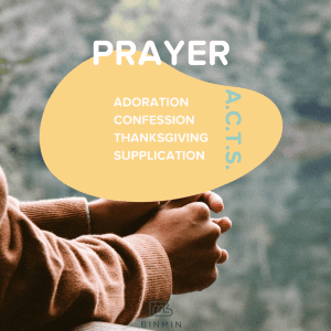 Image of praying hands with text Prayer: Adoration, Confession, Thanksgiving, Supplication