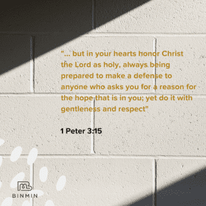Image of wall with words of Bible verse on Christian Apologetics 1 Peter 3:15