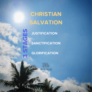 Blue sky with text: Christian Salvation: 3 stages: Justification, Sanctification, Glorification
