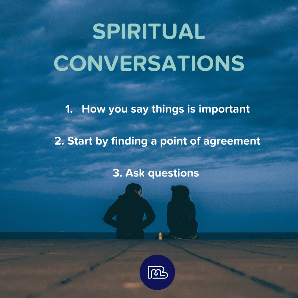 Image of two people talking, text of 3 tips for spiritual conversations